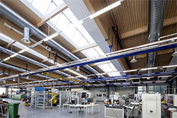 LIGNO Acoustic Light panels on Factory Ceilings