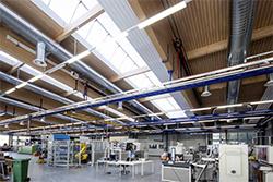 LIGNO Acoustic Light panels on Factory Ceilings