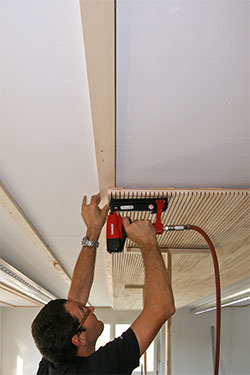 LIGNO Acoustic Light panels installed onto a Ceiling